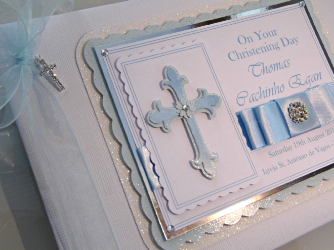 Boys Christening Guest Book - Blue